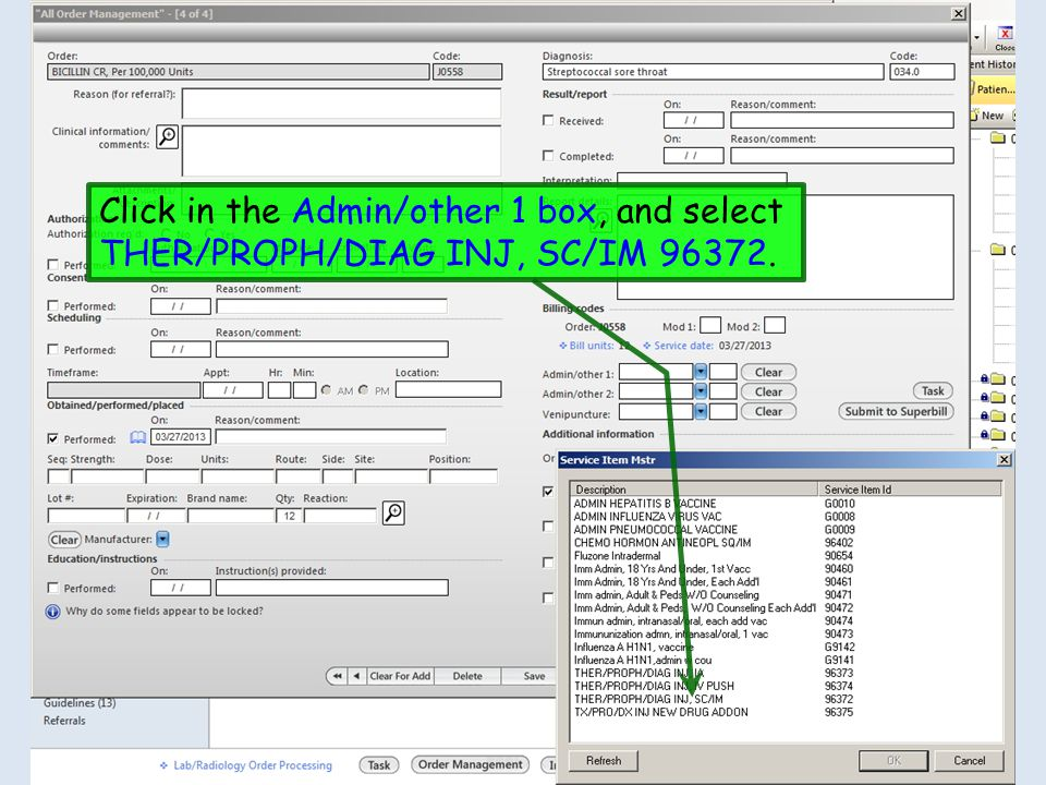 Click in the Admin/other 1 box, and select THER/PROPH/DIAG INJ, SC/IM 96372.