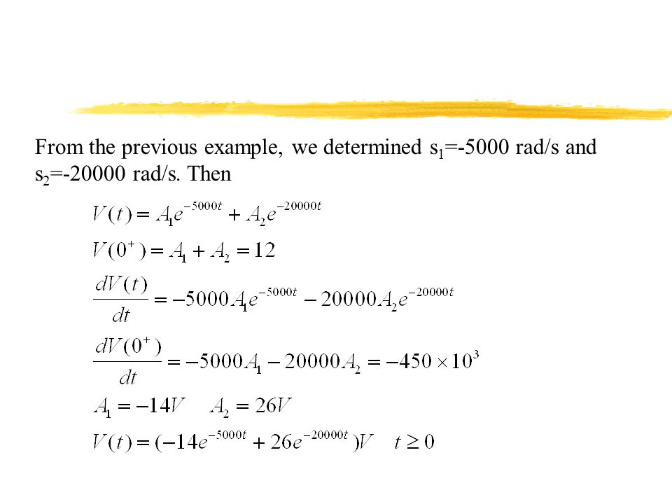 From the previous example, we determined s1=-5000 rad/s and s2=-20000 rad/s. Then