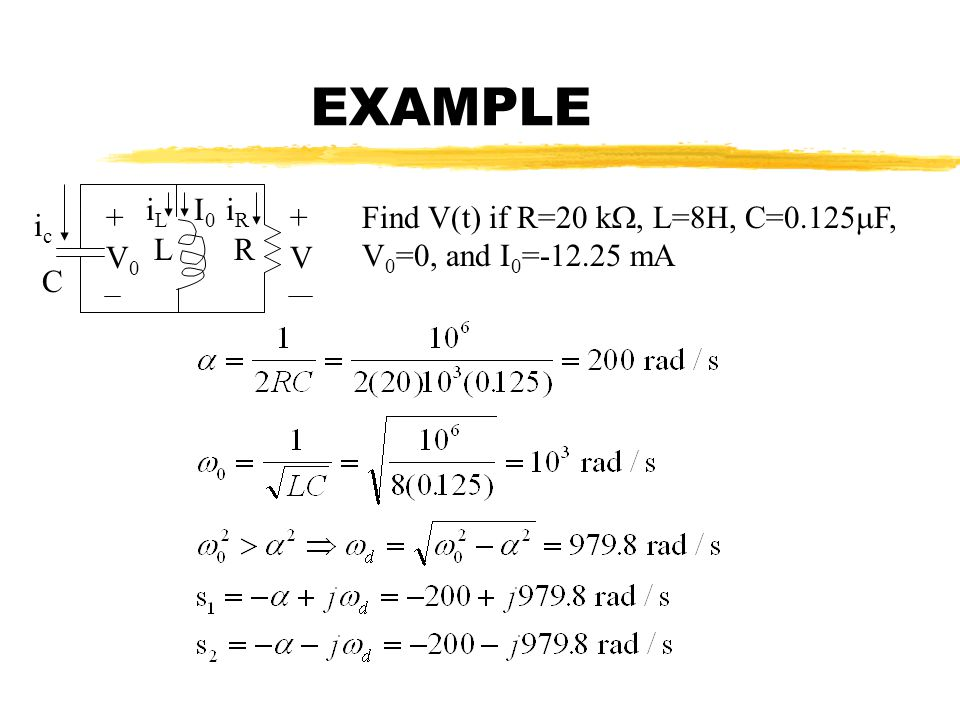 EXAMPLE iL I0 iR + + Find V(t) if R=20 k, L=8H, C=0.125F, V0=0, and I0=-12.25 mA ic L R V0 V C