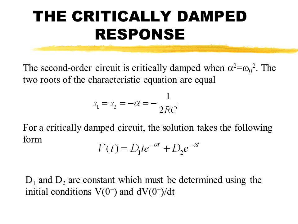 THE CRITICALLY DAMPED RESPONSE
