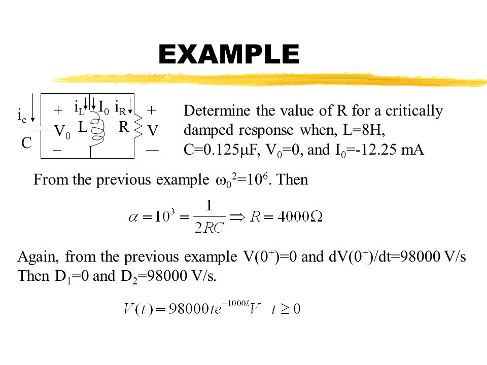 EXAMPLE iL. I0. iR. + + Determine the value of R for a critically damped response when, L=8H, C=0.125F, V0=0, and I0=-12.25 mA.
