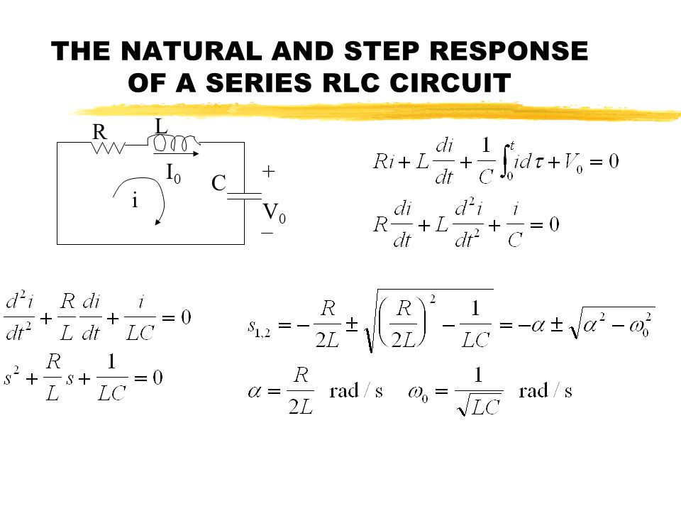 THE NATURAL AND STEP RESPONSE OF A SERIES RLC CIRCUIT