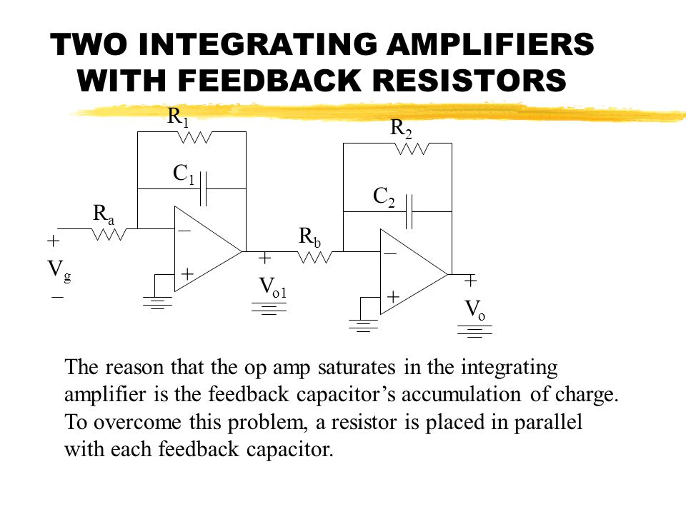 TWO INTEGRATING AMPLIFIERS WITH FEEDBACK RESISTORS