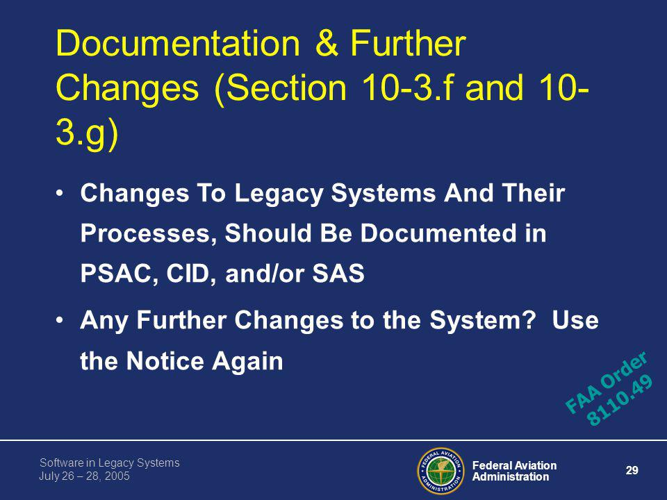 Documentation & Further Changes (Section 10-3.f and 10-3.g)