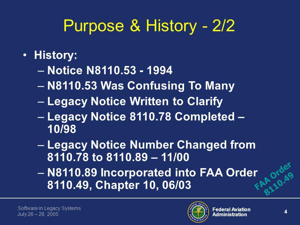 Purpose & History - 2/2 History: Notice N8110.53 - 1994