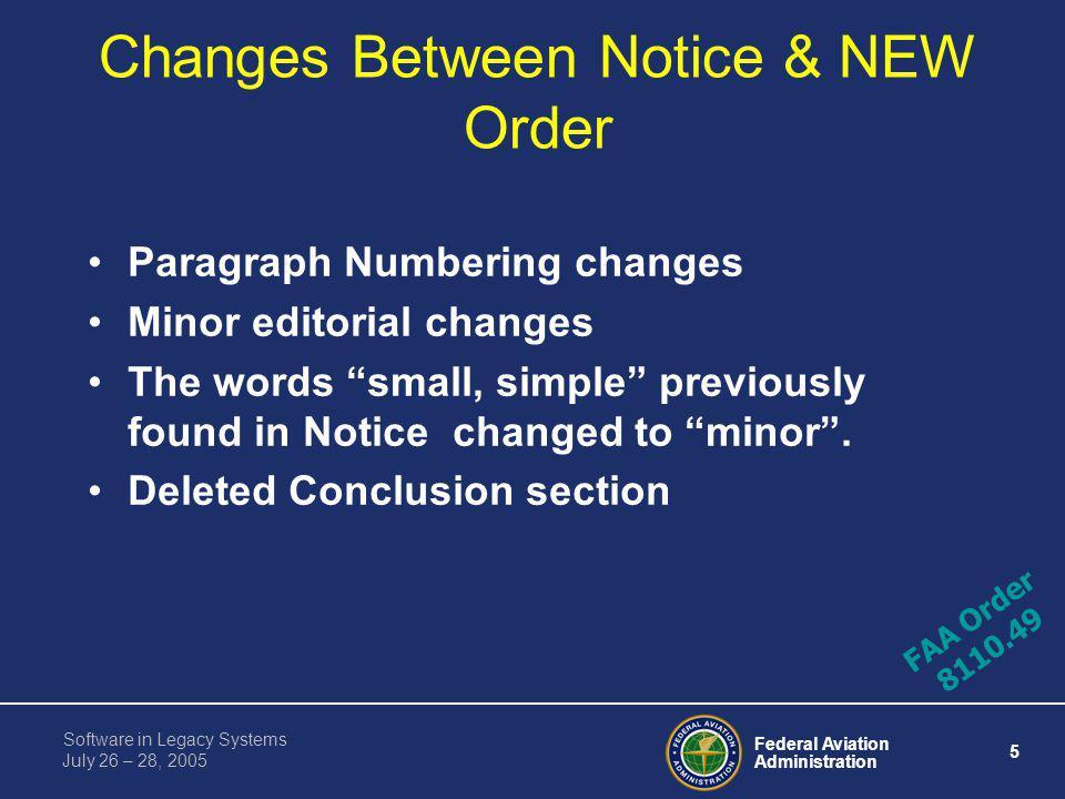 Changes Between Notice & NEW Order