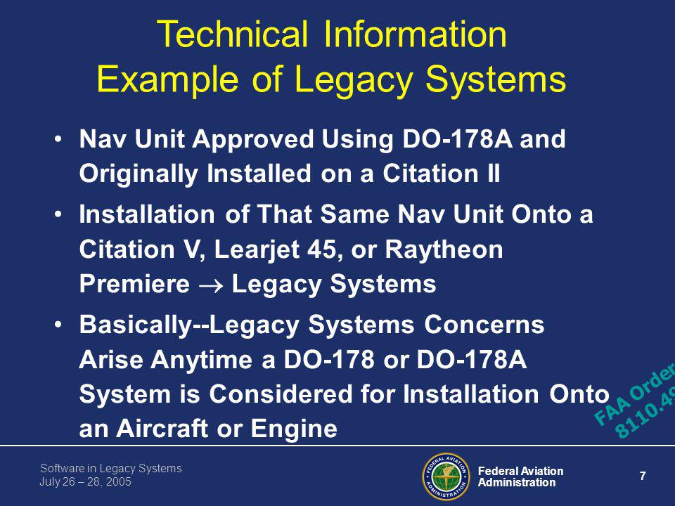 Technical Information Example of Legacy Systems