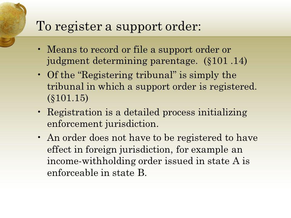To register a support order: