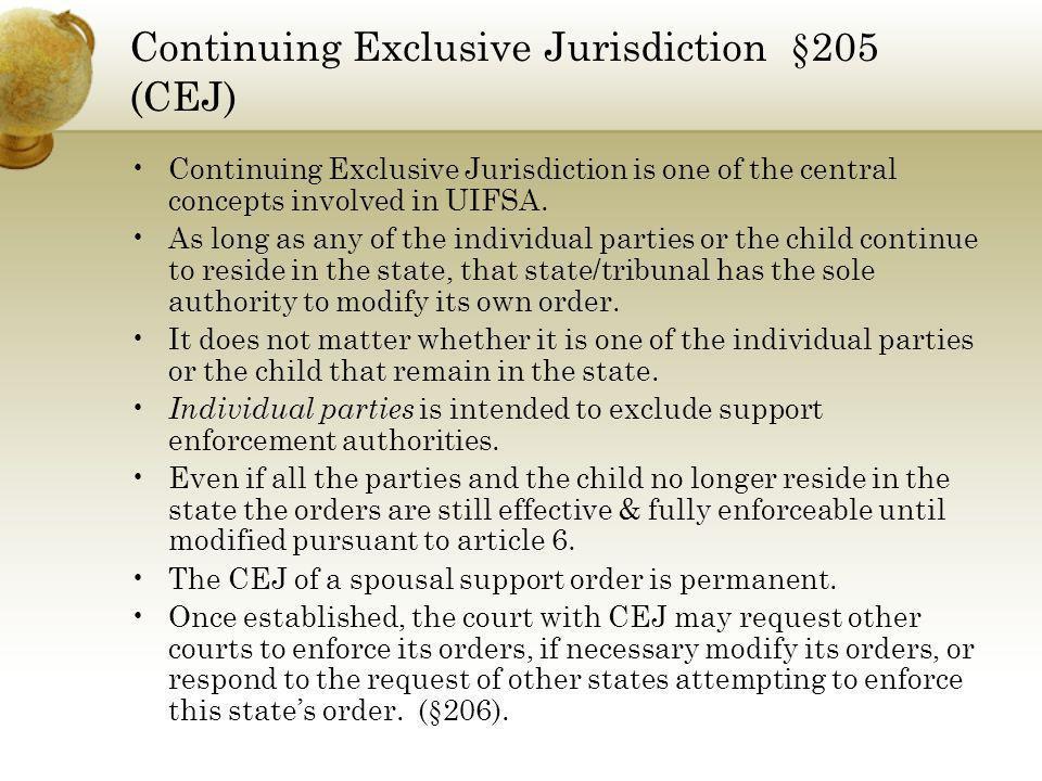 Continuing Exclusive Jurisdiction §205 (CEJ)