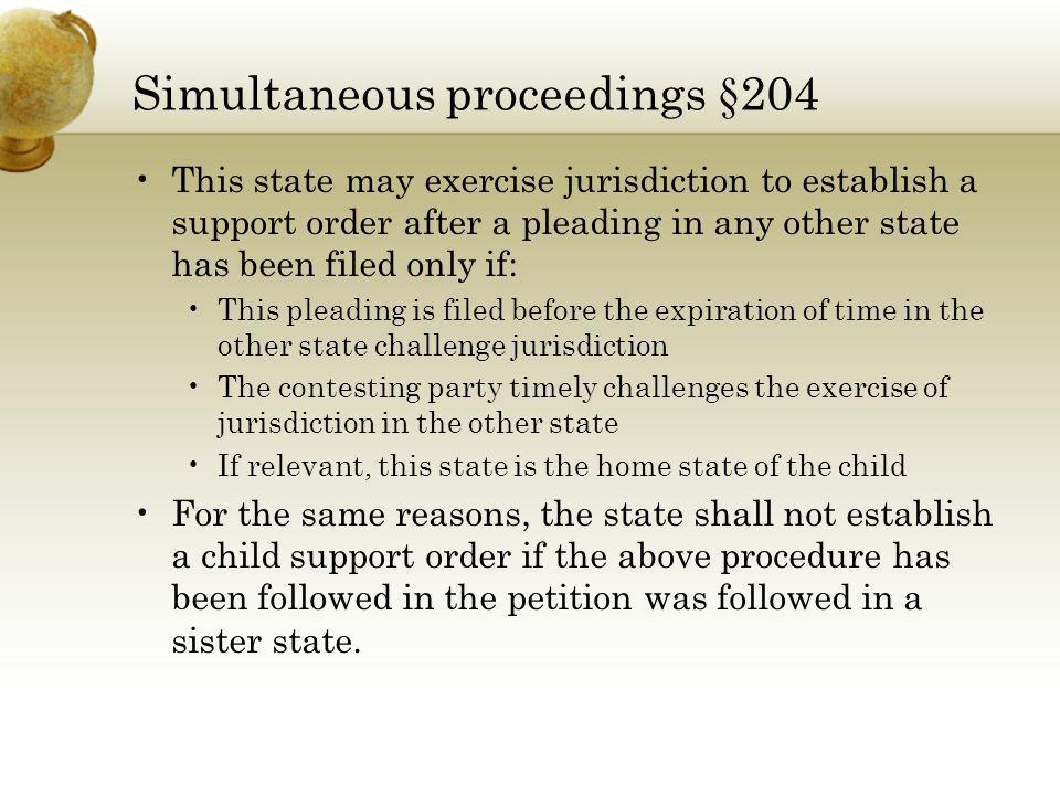 Simultaneous proceedings §204