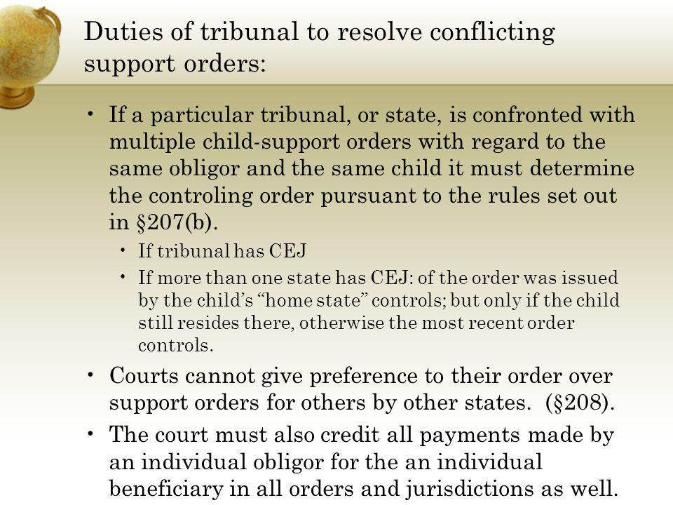 Duties of tribunal to resolve conflicting support orders: