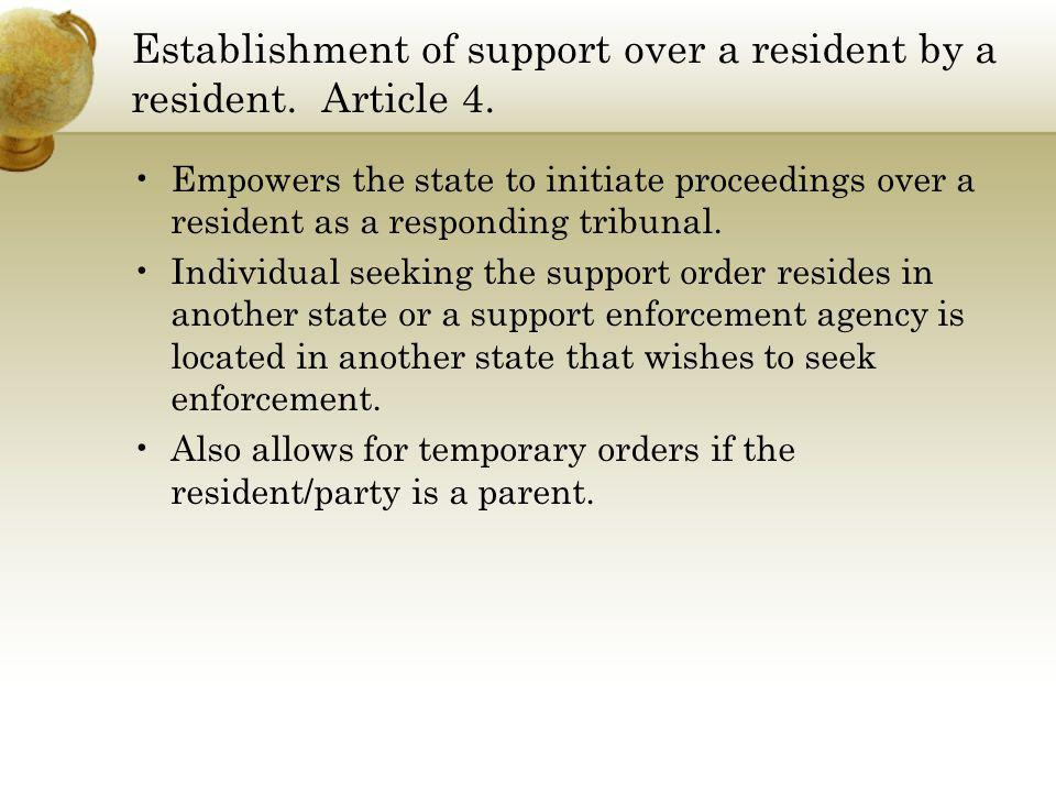 Establishment of support over a resident by a resident. Article 4.