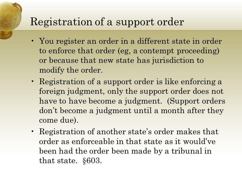 Registration of a support order