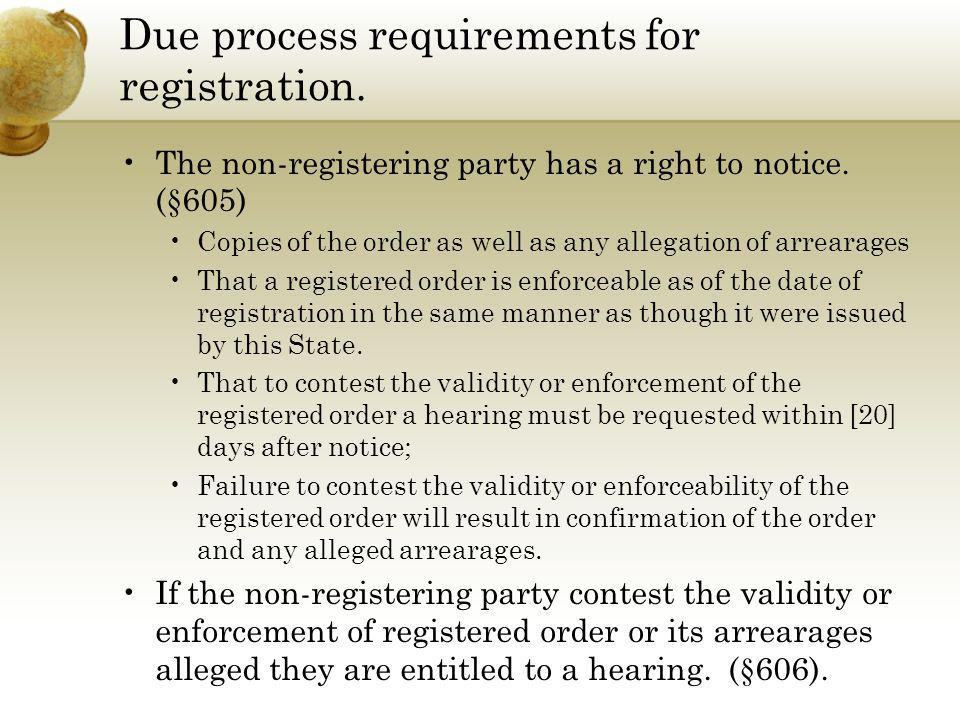 Due process requirements for registration.