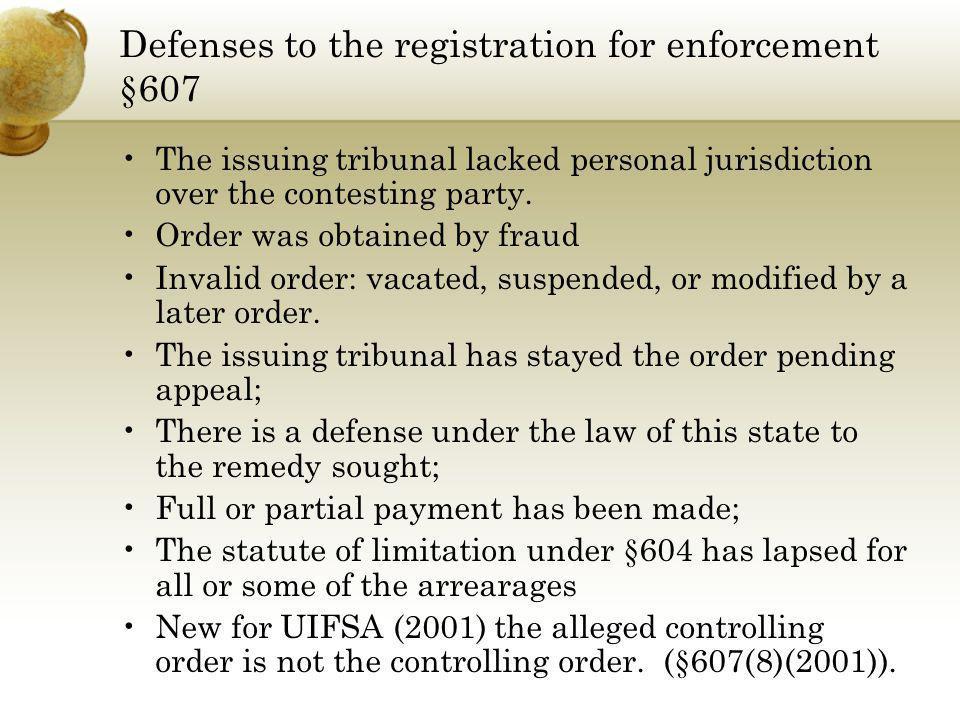 Defenses to the registration for enforcement §607