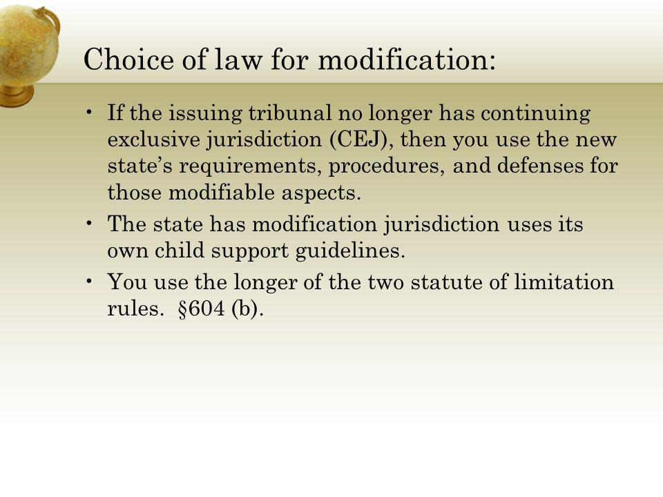 Choice of law for modification: