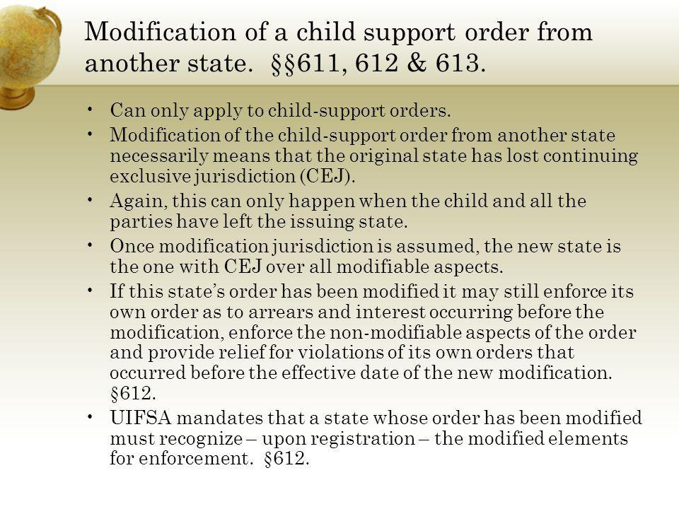Modification of a child support order from another state