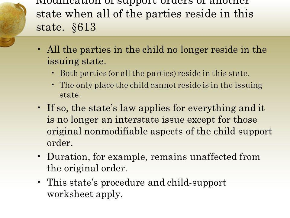 Modification of support orders of another state when all of the parties reside in this state. §613