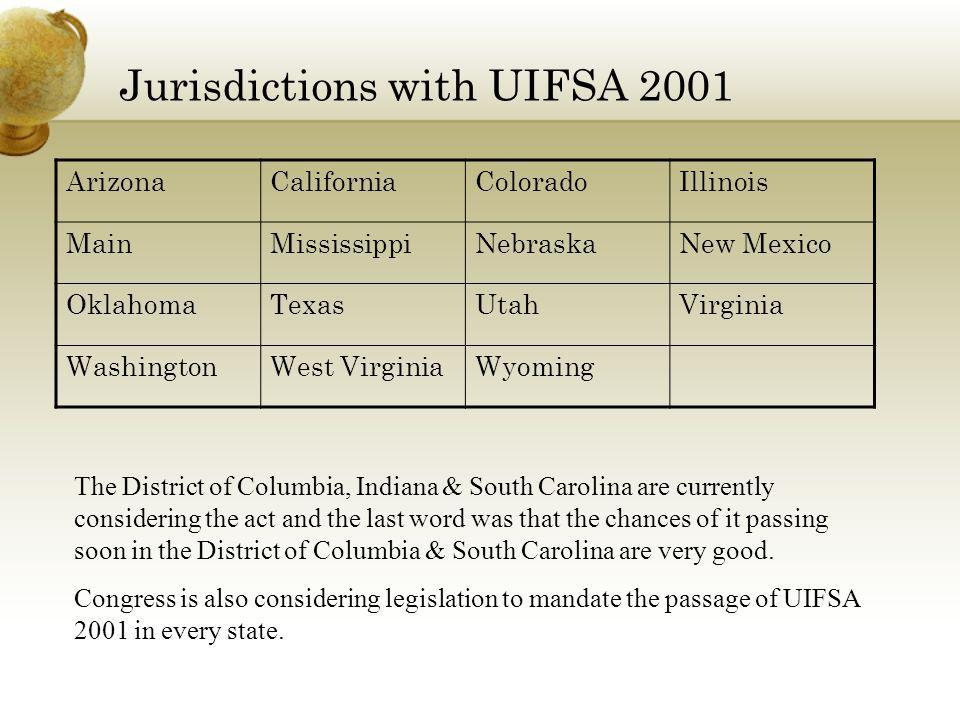 Jurisdictions with UIFSA 2001