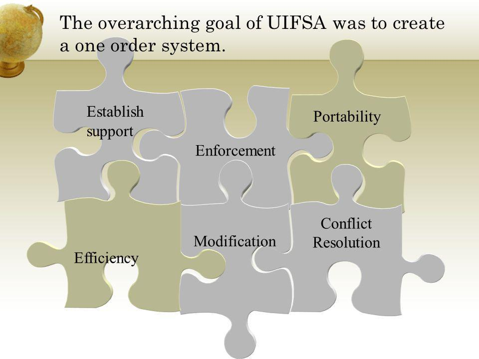 The overarching goal of UIFSA was to create a one order system.