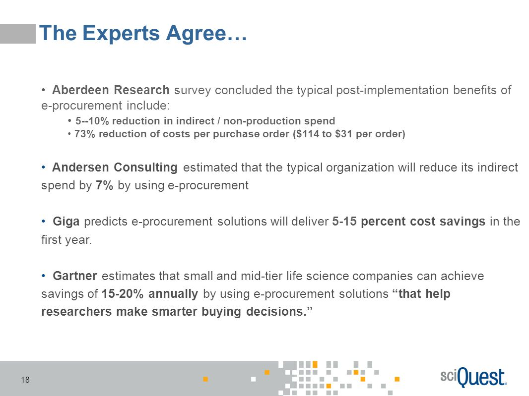 The Experts Agree… Aberdeen Research survey concluded the typical post-implementation benefits of e-procurement include: