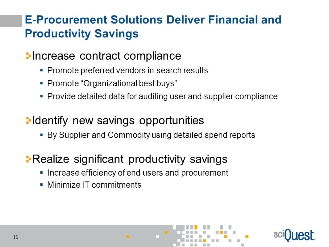 E-Procurement Solutions Deliver Financial and Productivity Savings