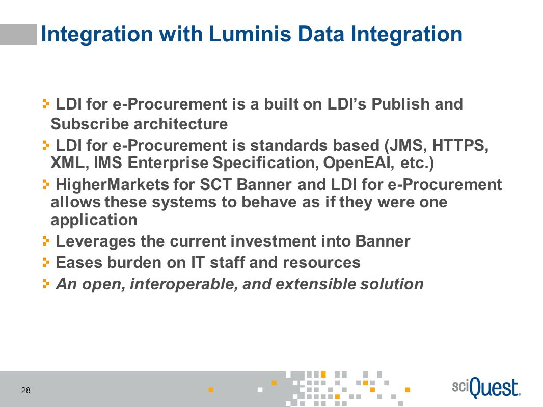 Integration with Luminis Data Integration