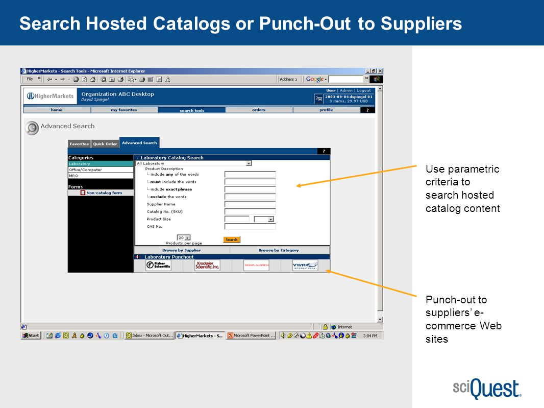 Search Hosted Catalogs or Punch-Out to Suppliers