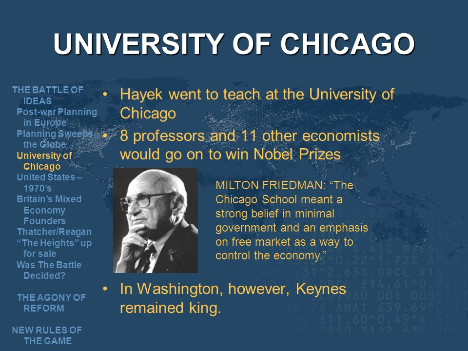 UNIVERSITY OF CHICAGO Hayek went to teach at the University of Chicago