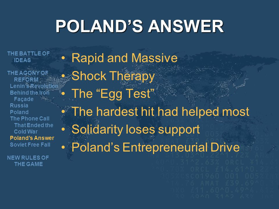 POLAND'S ANSWER Rapid and Massive Shock Therapy The Egg Test