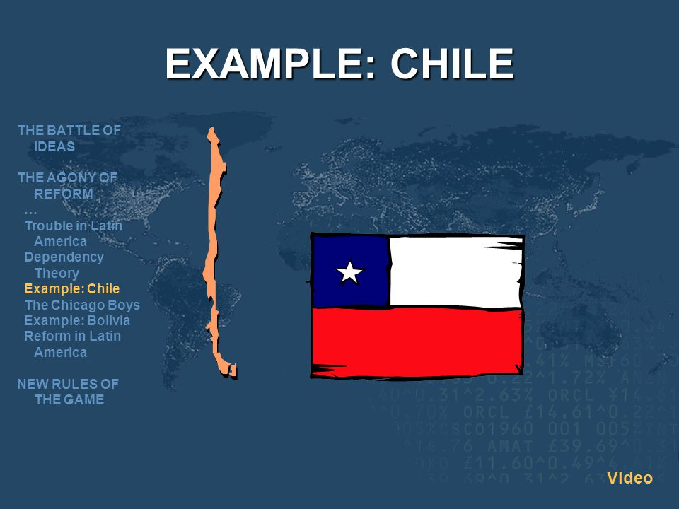 EXAMPLE: CHILE Video THE BATTLE OF IDEAS THE AGONY OF REFORM …