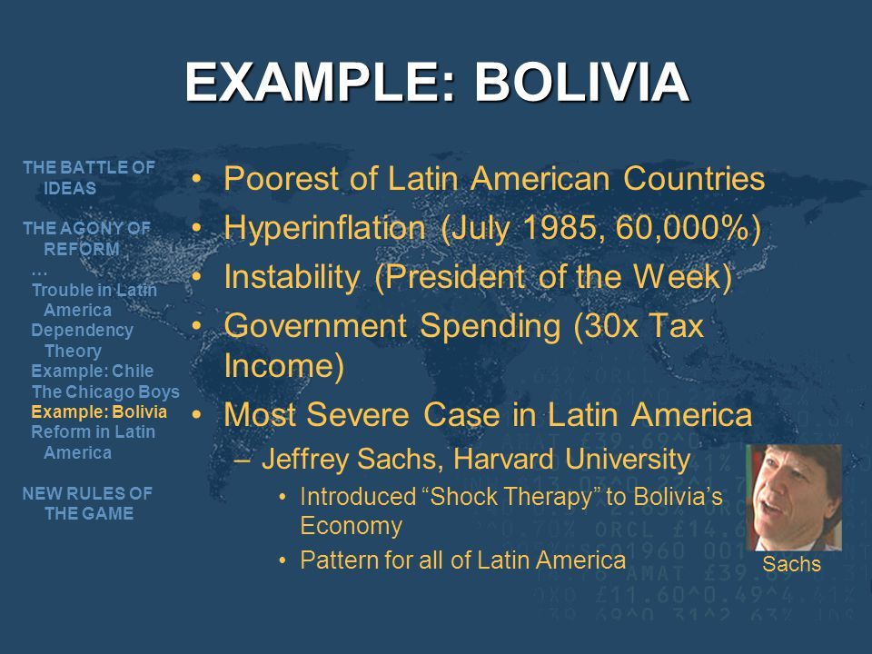 EXAMPLE: BOLIVIA Poorest of Latin American Countries