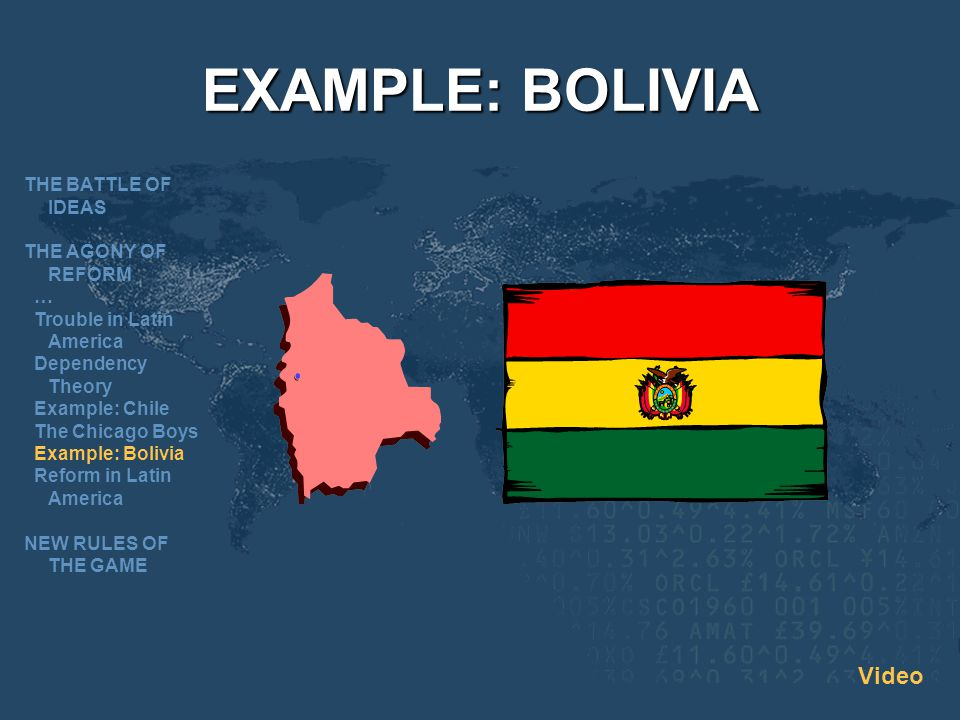 EXAMPLE: BOLIVIA Video THE BATTLE OF IDEAS THE AGONY OF REFORM …