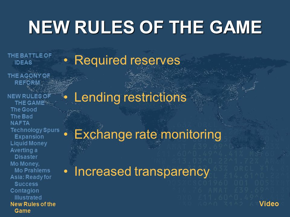 NEW RULES OF THE GAME Required reserves Lending restrictions