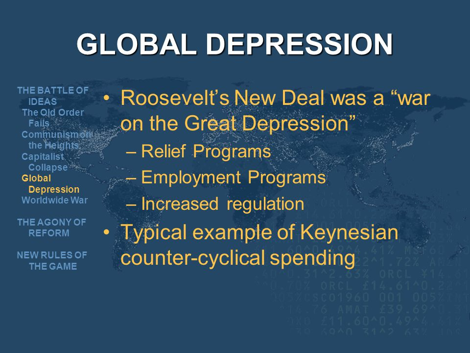GLOBAL DEPRESSION THE BATTLE OF IDEAS. The Old Order Fails. Communism on the Heights. Capitalist Collapse.