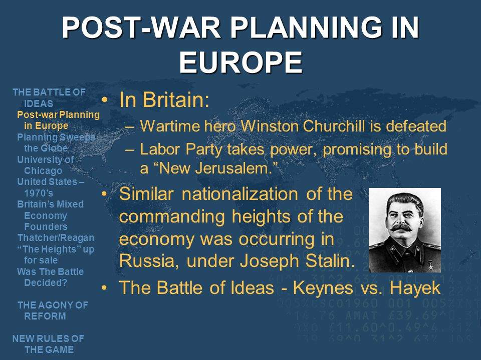 POST-WAR PLANNING IN EUROPE