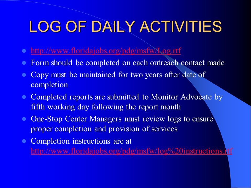 LOG OF DAILY ACTIVITIES