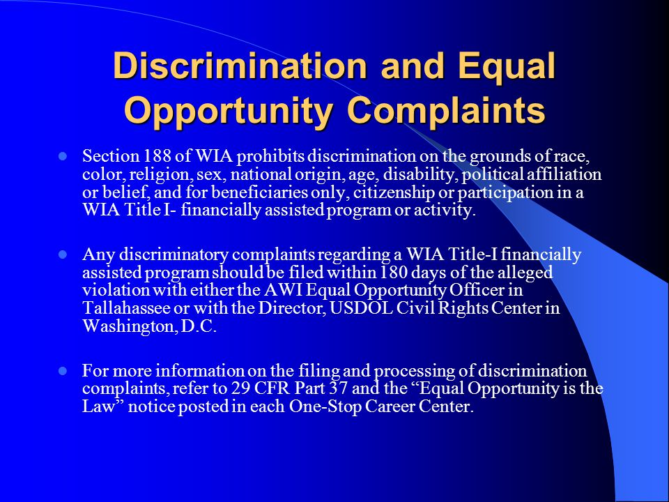 Discrimination and Equal Opportunity Complaints