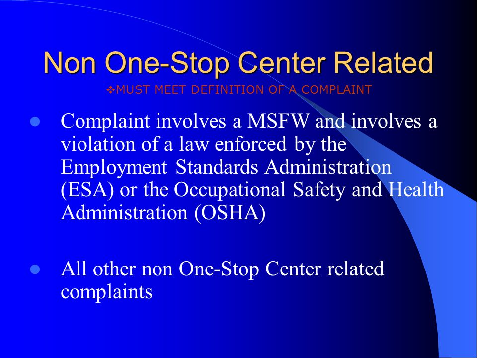 Non One-Stop Center Related