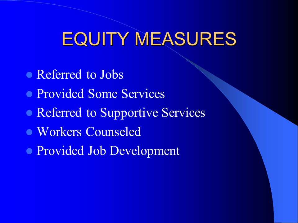 EQUITY MEASURES Referred to Jobs Provided Some Services