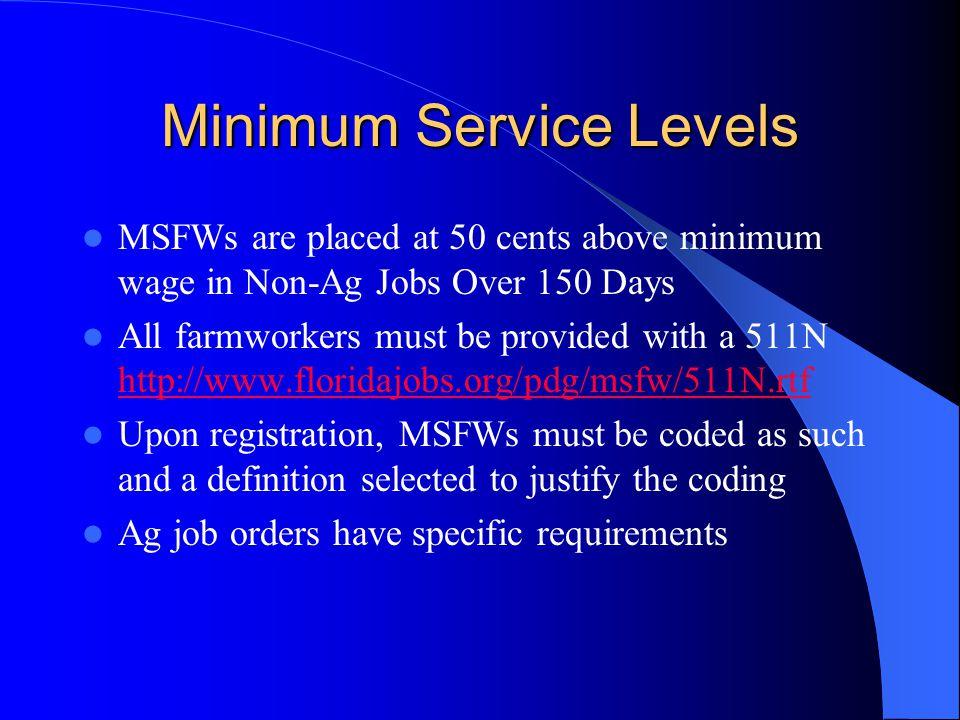 Minimum Service Levels