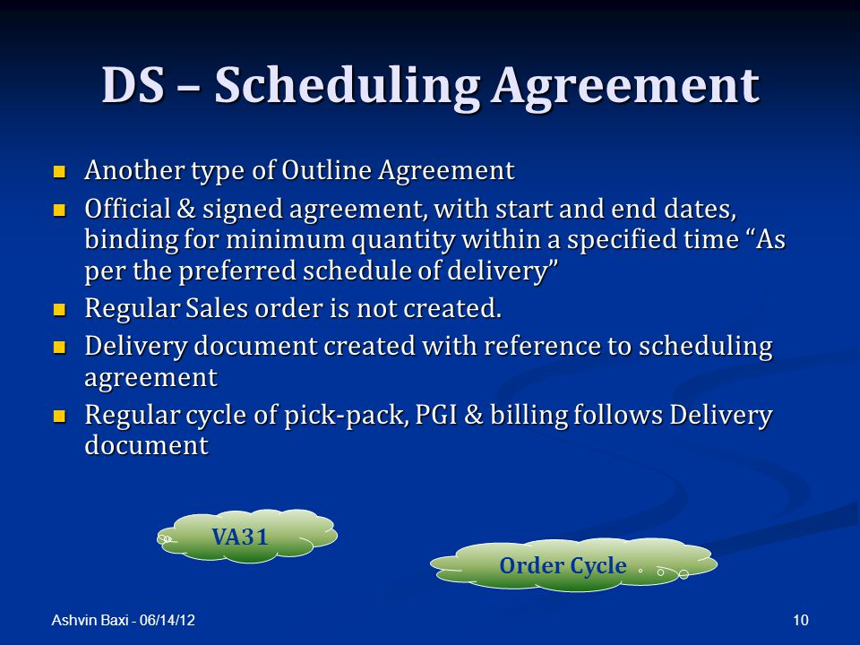 DS – Scheduling Agreement