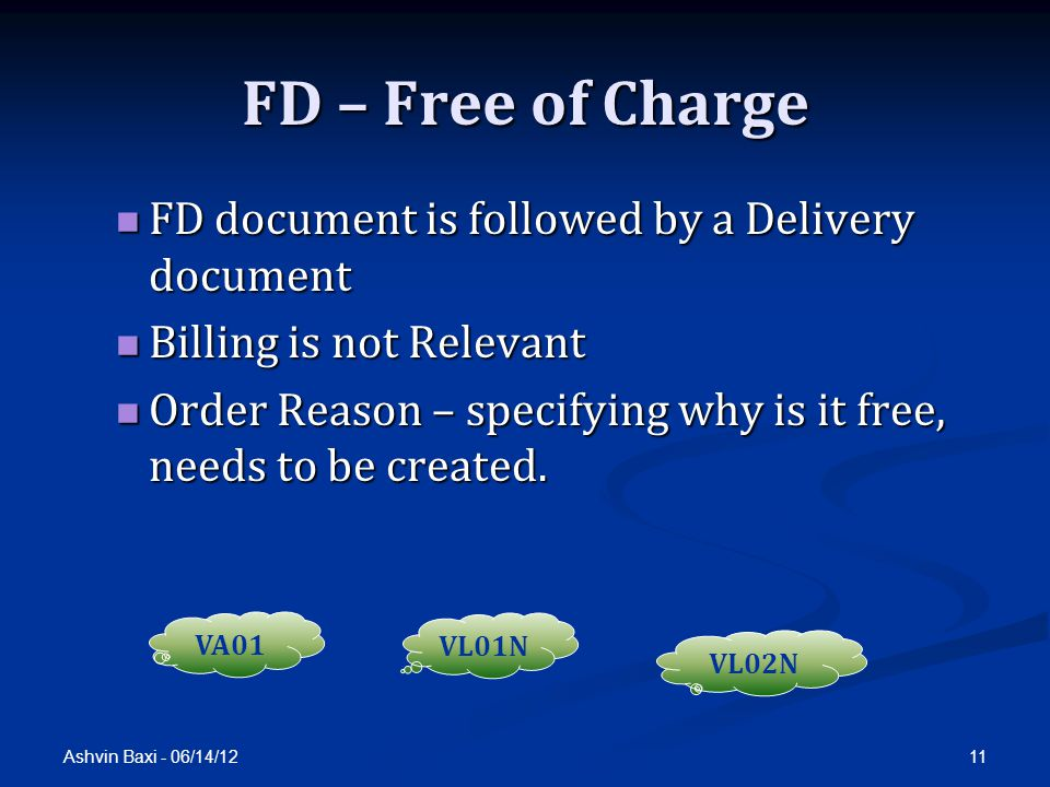 FD – Free of Charge FD document is followed by a Delivery document
