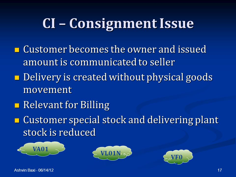CI – Consignment Issue Customer becomes the owner and issued amount is communicated to seller. Delivery is created without physical goods movement.