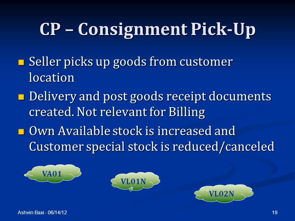 CP – Consignment Pick-Up
