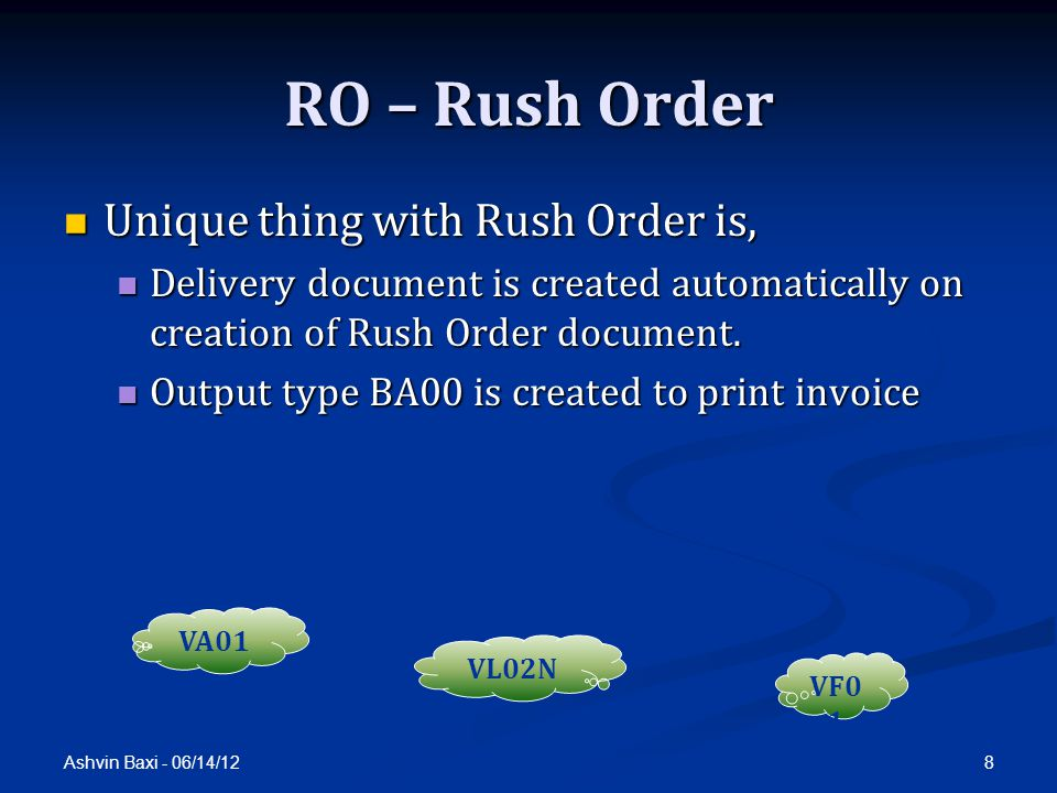 RO – Rush Order Unique thing with Rush Order is,