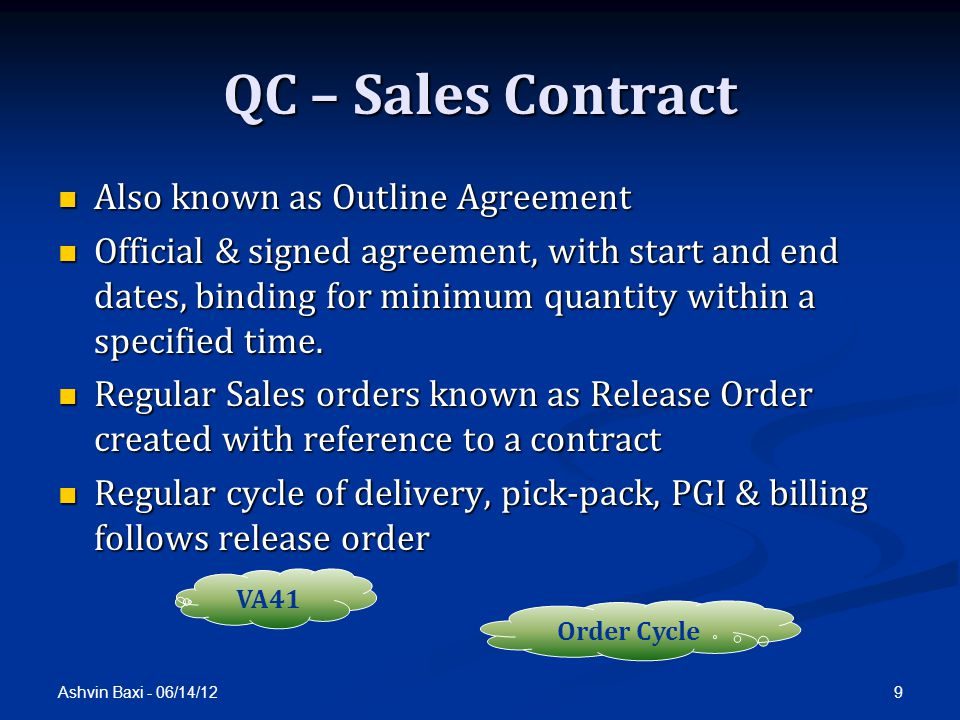 QC – Sales Contract Also known as Outline Agreement