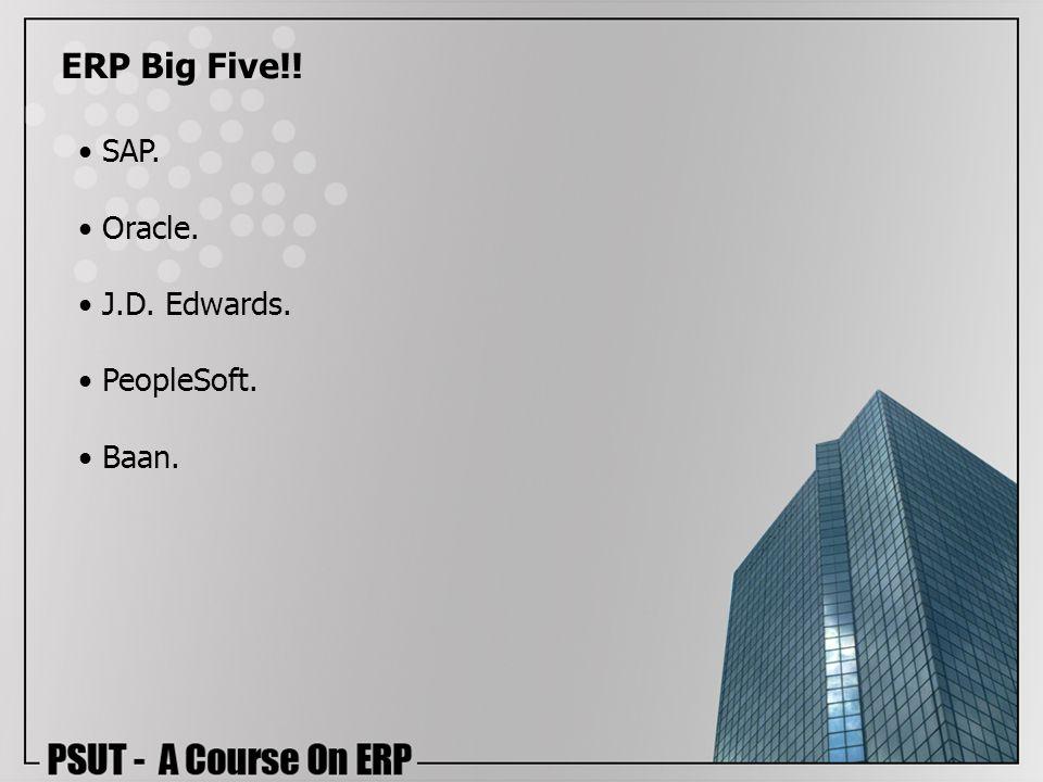 ERP Big Five!! SAP. Oracle. J.D. Edwards. PeopleSoft. Baan.