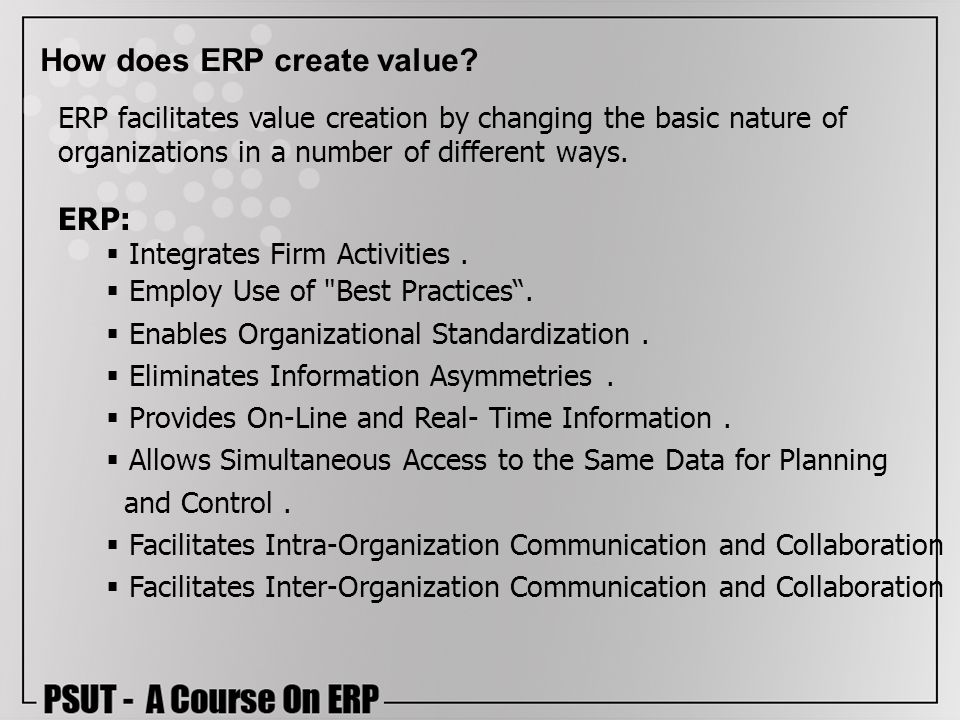 How does ERP create value