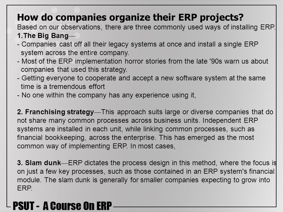 How do companies organize their ERP projects